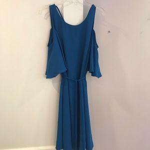 Blue Cold Shoulder Mini Dress